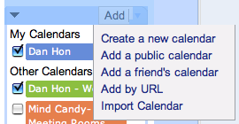 Google Calendar Dropdown Menu