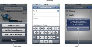 An action sheet, modal view and alert on iPhone OS, from the Apple iPhone Human Interface Guidelines