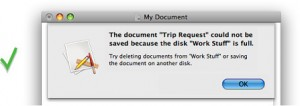 A well-written alert message on Mac OS X, from Apple's Human Interface Guidelines